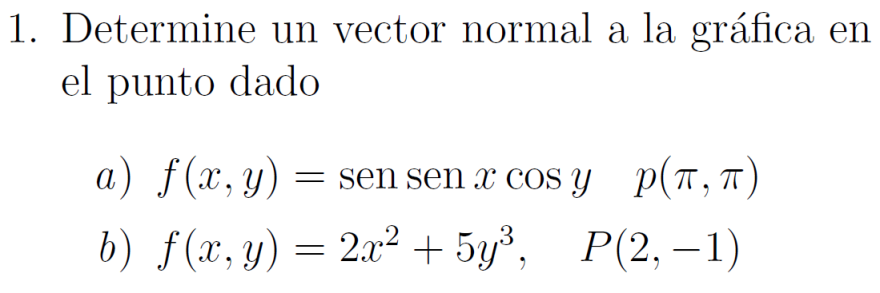 calcule un vector normal a la grafica